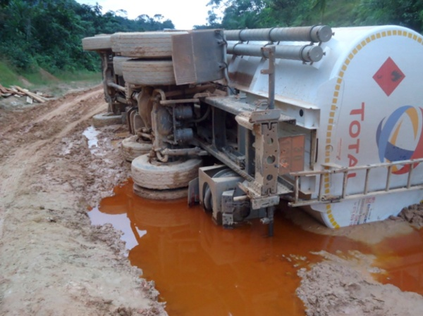 Total Truck Flipped on the Ganta Road